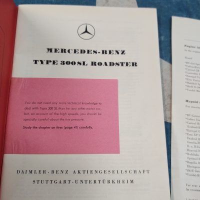 Mercedes 300SL W198 Owners Manual Ed.A