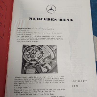 Mercedes W188 300Sc Owners Manual Genuine Nr.Mt.
