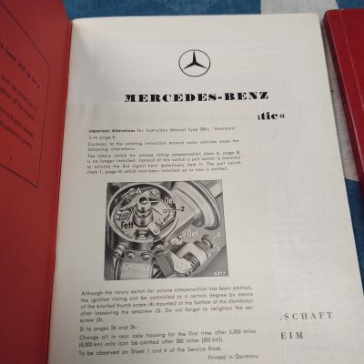 Mercedes W186 300C Owners Manual + Cat.A 1956 Parts Book Ex.+ Cond.