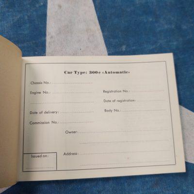 Mercedes W186 300C Service Booklet Unused Me.Mt.cond.