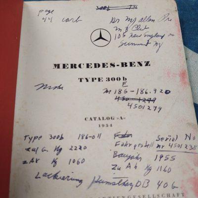 Mercedes W186 300b 1954 Cat.A Parts Book Good cond.