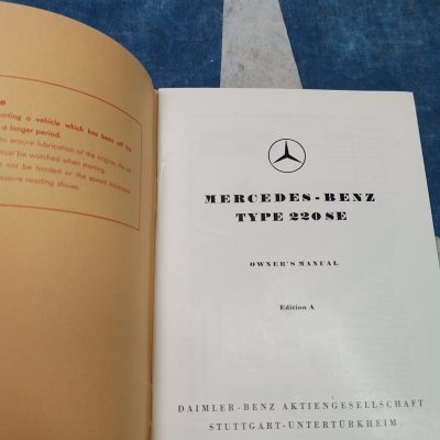 Mercedes W180 220SE Owners Manual Genuine NOS Mint Cond.