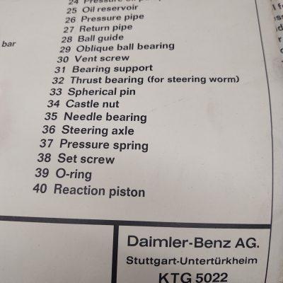 Mercedes Engineering Diagram DB Power Steering 1964 printing