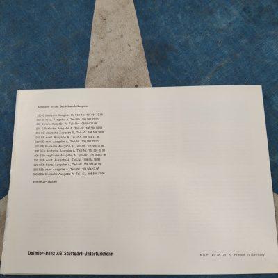 Mercedes W111,W112 Rare Summer Ventilation Supplement Foldout- 5 languages