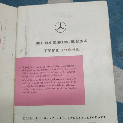 Mercedes W121 190SL Owners Manual Ed. D 1959 Ex. Cond.